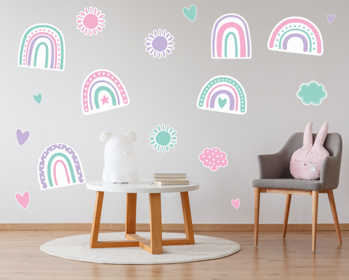 Pastel Rainbows Wall Decals - Large-Wall Decals-AnaJosie Designs