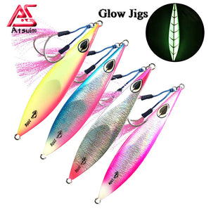 Atsuim   Slow Metal Sinking Glow Jigs With Hooks