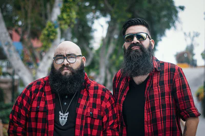 Two men with long beards