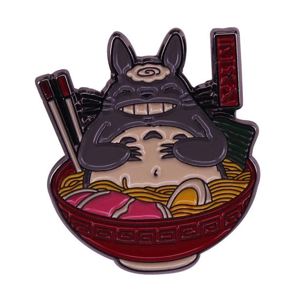 Totoro Ramen Anime Handcrafted Enamel Pin - Over Enameled