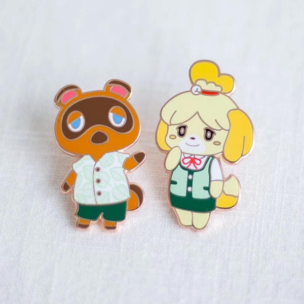 Animal Crossing Tom Nook & Isabelle Gaming Handcrafted Enamel Pin - Over Enameled