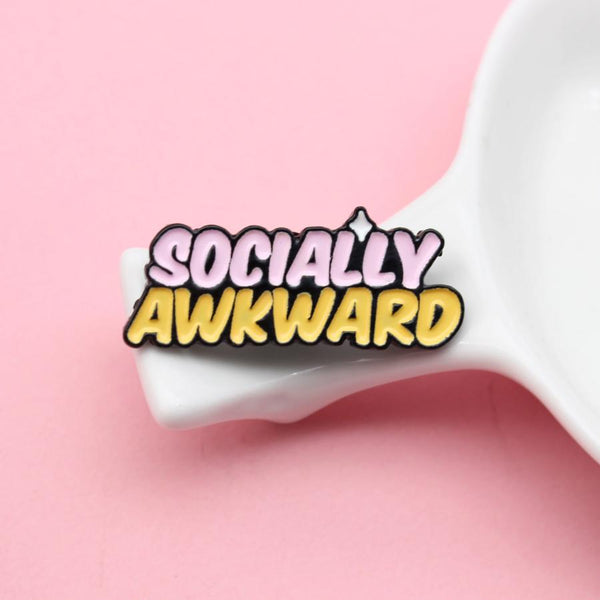 Socially Awkward Self Motivation Handcrafted Enamel Pin - Over Enameled