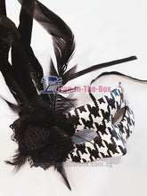 Load image into Gallery viewer, Black white feather Masquerade Mask
