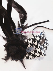 Black white feather Masquerade Mask