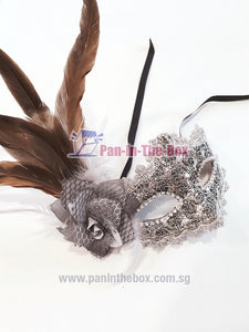 Brown Silver Feather Masquerade Mask