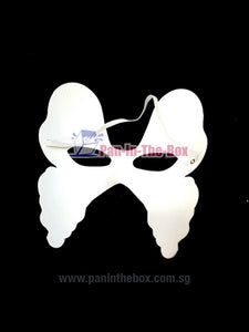 White Butterfly Shape Masquerade Mask w/Strap (DIY)
