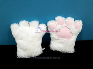 Cat Paw Gloves White