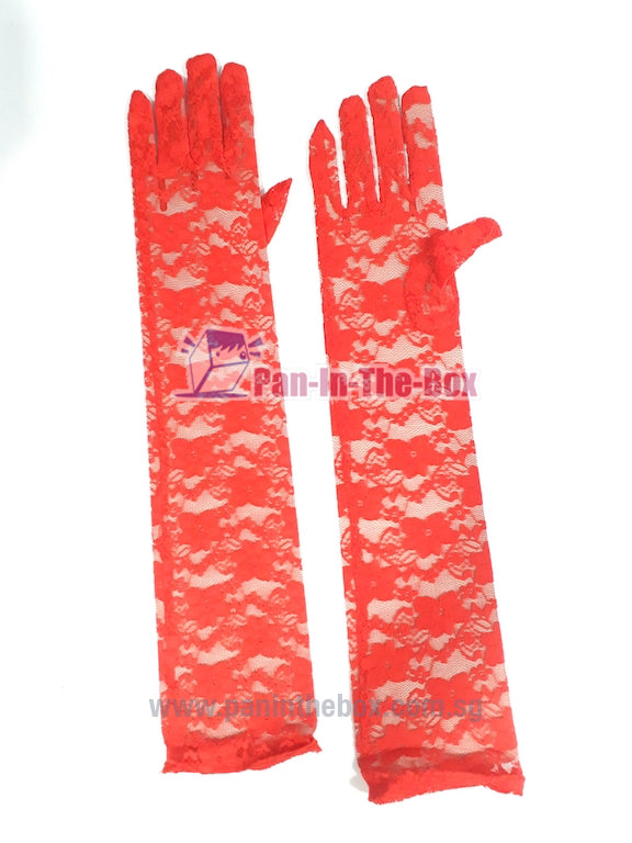 Red Lace Long Glove