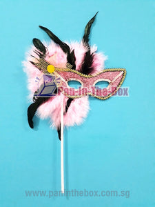 Pink Masquerade Mask With Stick