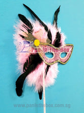 Load image into Gallery viewer, Pink Masquerade Mask With Stick