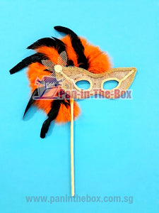 Orange Masquerade Mask With Stick