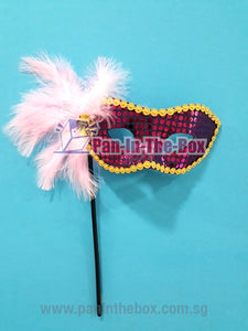Purple Masquerade Mask With Stick