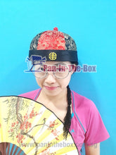 Load image into Gallery viewer, Red//Black Chinese Round Hat w/black braids