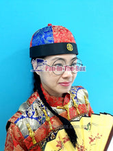Load image into Gallery viewer, Red//Blue Chinese Round Hat w/black braids