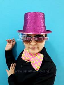 Bow tie and Glitter Hat (Pink)