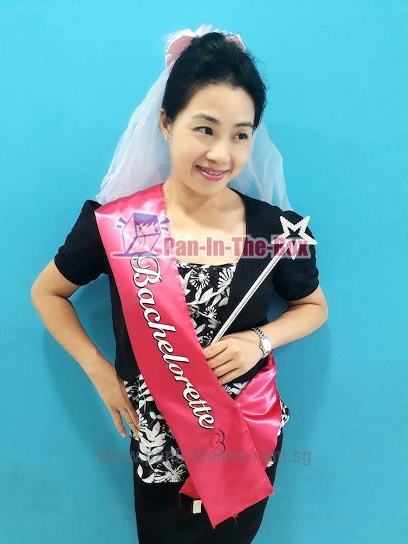 Bachelorette Sash Set w/Flower Veil and Wand