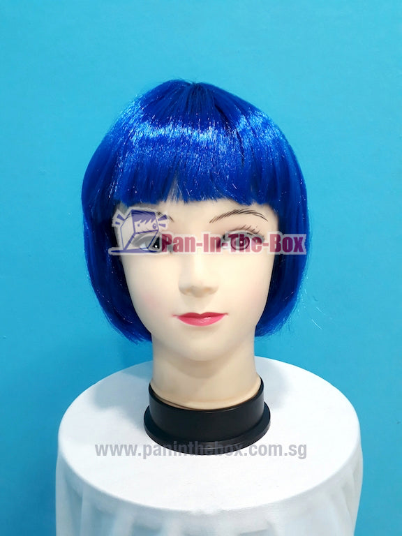 Short Straight Blue Wig