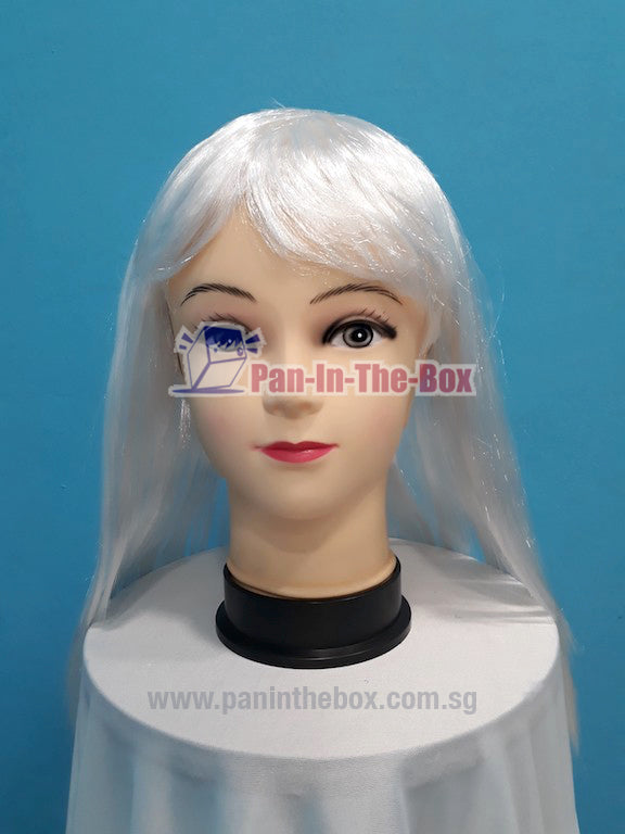 Mid Long Straight White Wig