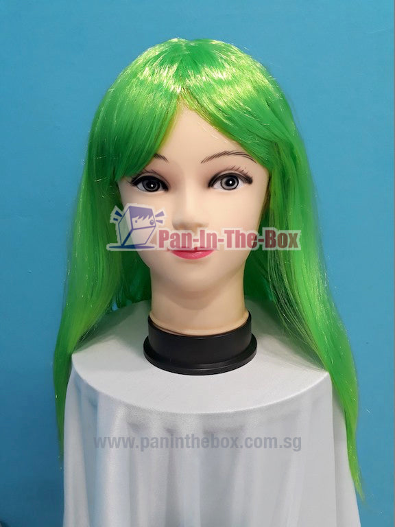 Mid Long Straight Green Wig
