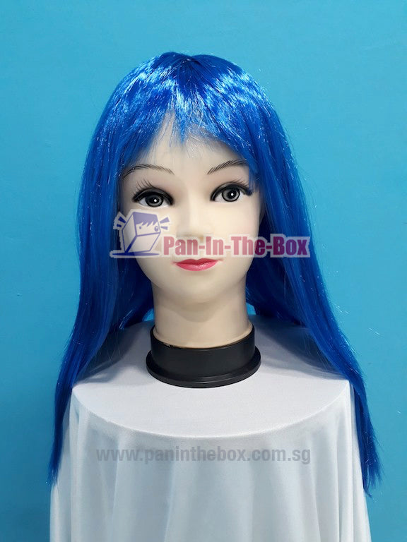 Mid Long Straight Blue Wig