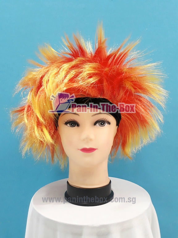 Red Yellow Headband Hair Wig
