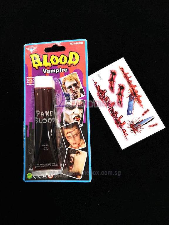Fake Blood With Temporary Scar Tattoo Design C