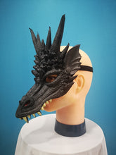 Load image into Gallery viewer, Black Rubber Dragon Mask