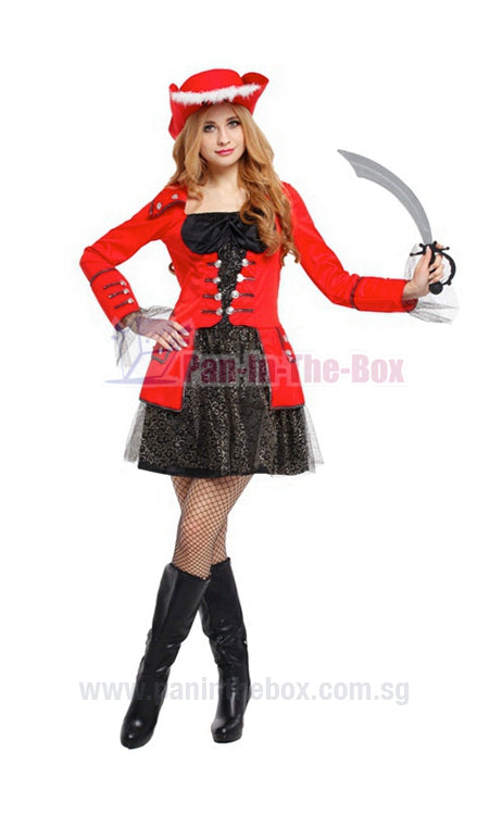 Red & Black Glitzy Pirate Costume