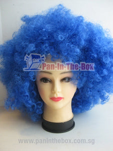 Big Short Curly Blue Wig