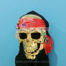 Load image into Gallery viewer, Pirate Gold Skull Mask w/black hood