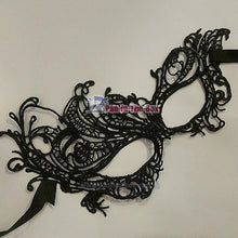 Load image into Gallery viewer, Elegant Soft Lace Masquerade Mask Black 2