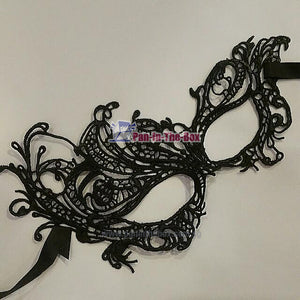 Elegant Soft Lace Masquerade Mask Black 2