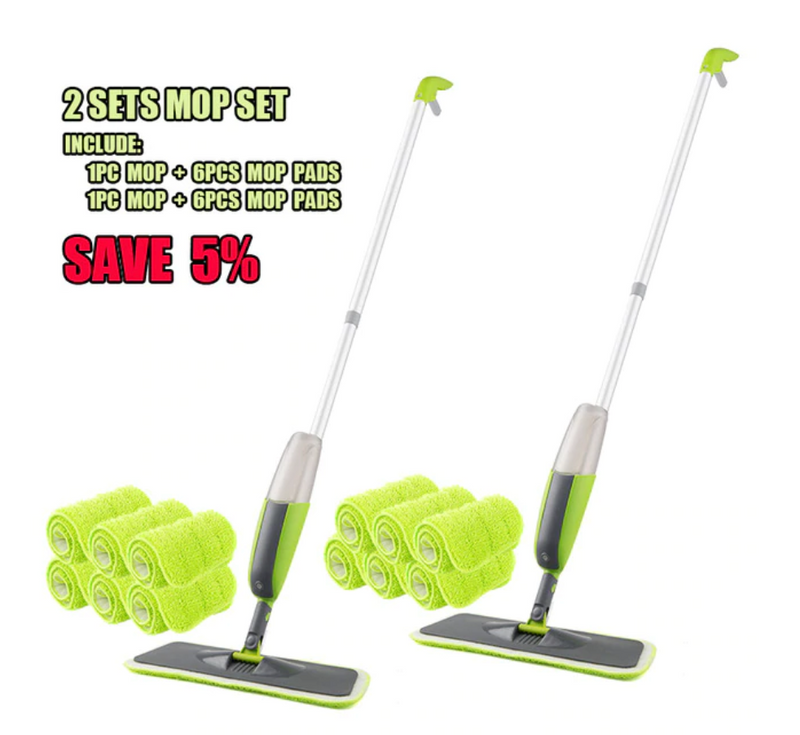 Spray Mop With Reusable Microfiber Pads