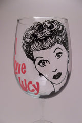 I Love Lucy, Lucille Ball,Hand painted Wine Glass