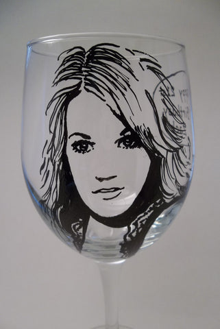 Carrie Underwood, Hand Painted Wine Glass