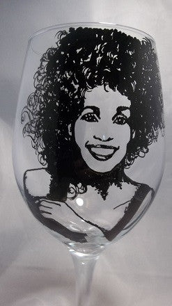 Whitney Houston, Hand Painted Glassware