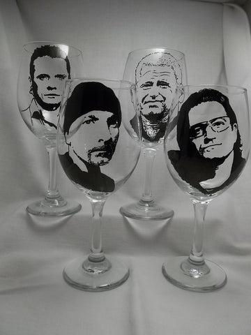 U2, Wine Glasses, Hand painted glass