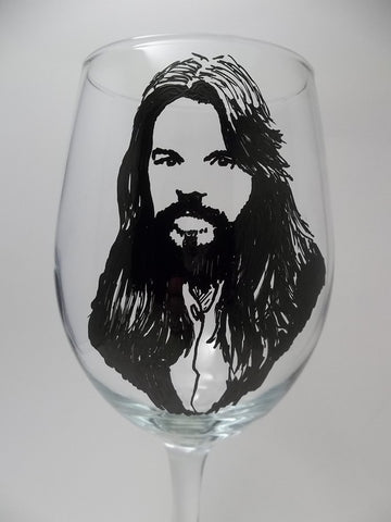 Bob Seger, Wine Glass, hand painted glassware
