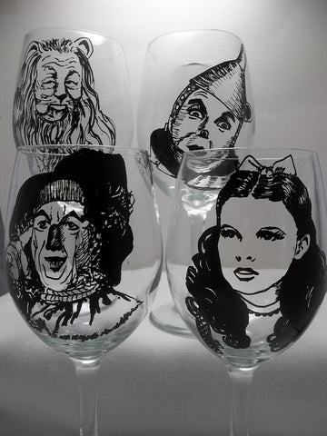 Wizard of Oz, Wine Glasses, Hand painted glass