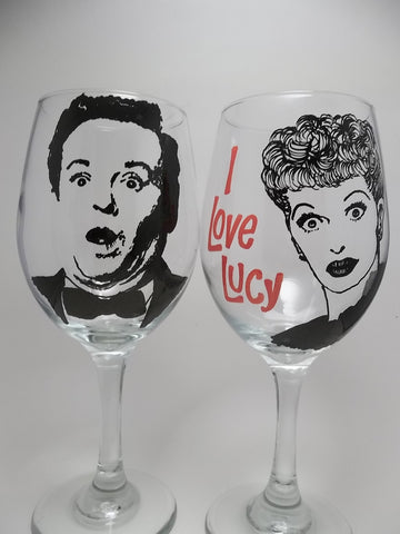Lucille Ball, Desi Arnaz, Hand Painted Glasses, I Love Lucy