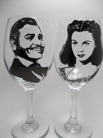 Gone With the Wind, Scarlett O'Hara, Rhett Butler, Wine Glasses