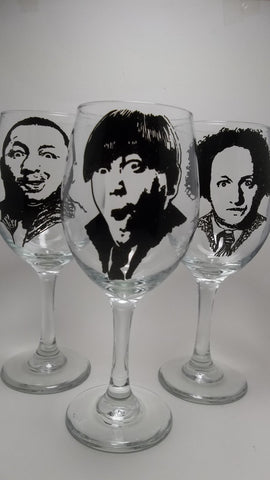 The Three Stooges, Wine Glasses, Hand painted glasses