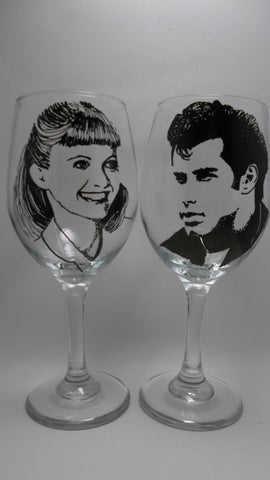 Grease Wine Glasses, John Travolta, Olivia Newton John