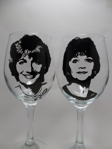 LaVerne and Shirley, Hand painted wine glasses