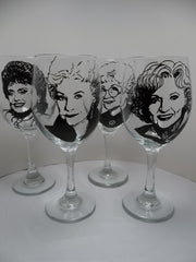 Golden Girls, Wine Glasses, Hand painted glass