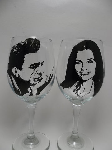 Johnny Cash, June Carter, Wine Glasses, Hand painted glass