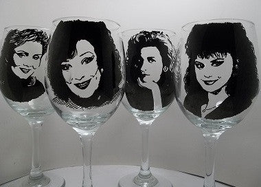 Designing Women, Wine Glasses, Hand painted glass