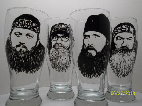 Duck Dynasty, Pint Glasses, Hand painted glass