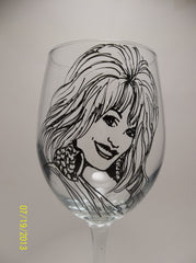 Dolly Parton,  Wine Glass, Hand painted glass