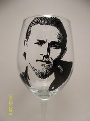 Sons of Anarchy, Charlie Hunnam, Wine Glass, Hand painted glass